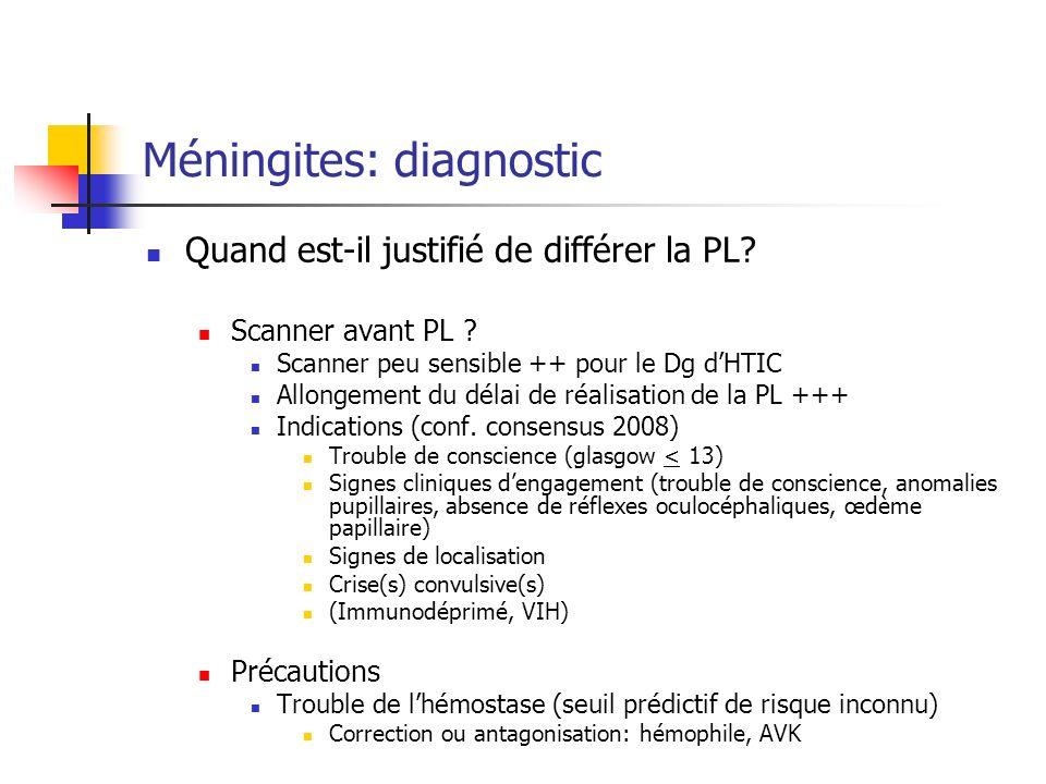 Méningites: diagnostic Quand est-il justifié de différer la PL.