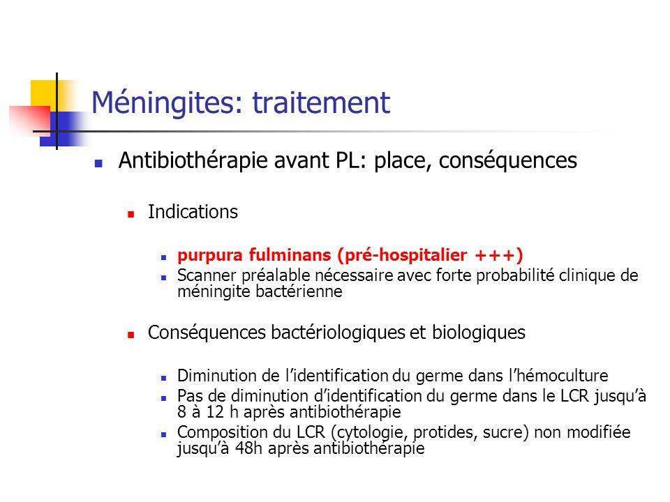 Méningites: traitement Antibiothérapie avant PL: place, conséquences Indications purpura fulminans (pré-hospitalier +++) Scanner préalable nécessaire avec forte probabilité clinique de méningite bactérienne Conséquences bactériologiques et biologiques Diminution de lidentification du germe dans lhémoculture Pas de diminution didentification du germe dans le LCR jusquà 8 à 12 h après antibiothérapie Composition du LCR (cytologie, protides, sucre) non modifiée jusquà 48h après antibiothérapie