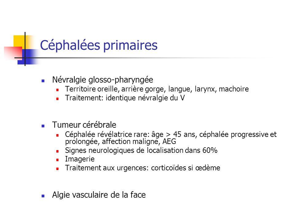 Céphalées primaires Névralgie glosso-pharyngée Territoire oreille, arrière gorge, langue, larynx, machoire Traitement: identique névralgie du V Tumeur cérébrale Céphalée révélatrice rare: âge > 45 ans, céphalée progressive et prolongée, affection maligne, AEG Signes neurologiques de localisation dans 60% Imagerie Traitement aux urgences: corticoïdes si œdème Algie vasculaire de la face