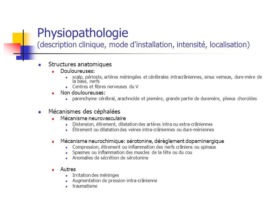 Physiopathologie (description clinique, mode dinstallation, intensité, localisation) Structures anatomiques Douloureuses: scalp, périoste, artères méningées et cérébrales intracrâniennes, sinus veineux, dure-mère de la base, nerfs Centres et fibres nerveuses du V Non douloureuses: parenchyme cérébral, arachnoïde et piemère, grande partie de duremère, plexus choroïdes Mécanismes des céphalées Mécanisme neurovasculaire Distension, étirement, dilatation des artères intra ou extra-crâniennes Étirement ou dilatation des veines intra-crâniennes ou dure-mèriennes Mécanisme neurochimique: sérotonine, dérèglement dopaminergique Compression, étirement ou inflammation des nerfs crâniens ou spinaux Spasmes ou inflammation des muscles de la tête ou du cou Anomalies de sécrétion de sérotonine Autres Irritation des méninges Augmentation de pression intra-crânienne traumatisme