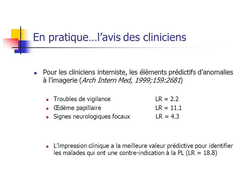 En pratique…lavis des cliniciens Pour les cliniciens interniste, les éléments prédictifs danomalies à limagerie (Arch Intern Med, 1999;159:2681) Troubles de vigilanceLR = 2.2 Œdème papillaireLR = 11.1 Signes neurologiques focaux LR = 4.3 Limpression clinique a la meilleure valeur prédictive pour identifier les malades qui ont une contre-indication à la PL (LR = 18.8)