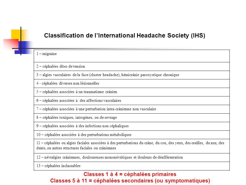 1 – migraine 2 – céphalées dites de tension 3 – algies vasculaires de la face (cluster headache), hémicrânie paroxystique chronique 4 - céphalées diverses non lésionnelles 5 – céphalées associées à un traumatisme crânien 6 – céphalées associées à des affections vasculaires 7 – céphalées associées à une perturbation intra-crânienne non vasculaire 8 – céphalées toxiques, iatrogènes, ou de sevrage 9 – céphalées associées à des infections non céphaliques 10 – céphalées associées à des perturbations métaboliques 11 – céphalées ou algies faciales associées à des perturbations du crâne, du cou, des yeux, des oreilles, du nez, des dents, ou autres structures faciales ou crâniennes 12 – névralgies crâniennes, douloureuses mononévritiques et douleurs de déafférentation 13 – céphalées inclassables Classification de lInternational Headache Society (IHS) Classes 1 à 4 = céphalées primaires Classes 5 à 11 = céphalées secondaires (ou symptomatiques)