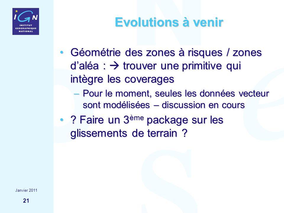 21 Evolutions à venir Géométrie des zones à risques / zones daléa : trouver une primitive qui intègre les coveragesGéométrie des zones à risques / zon