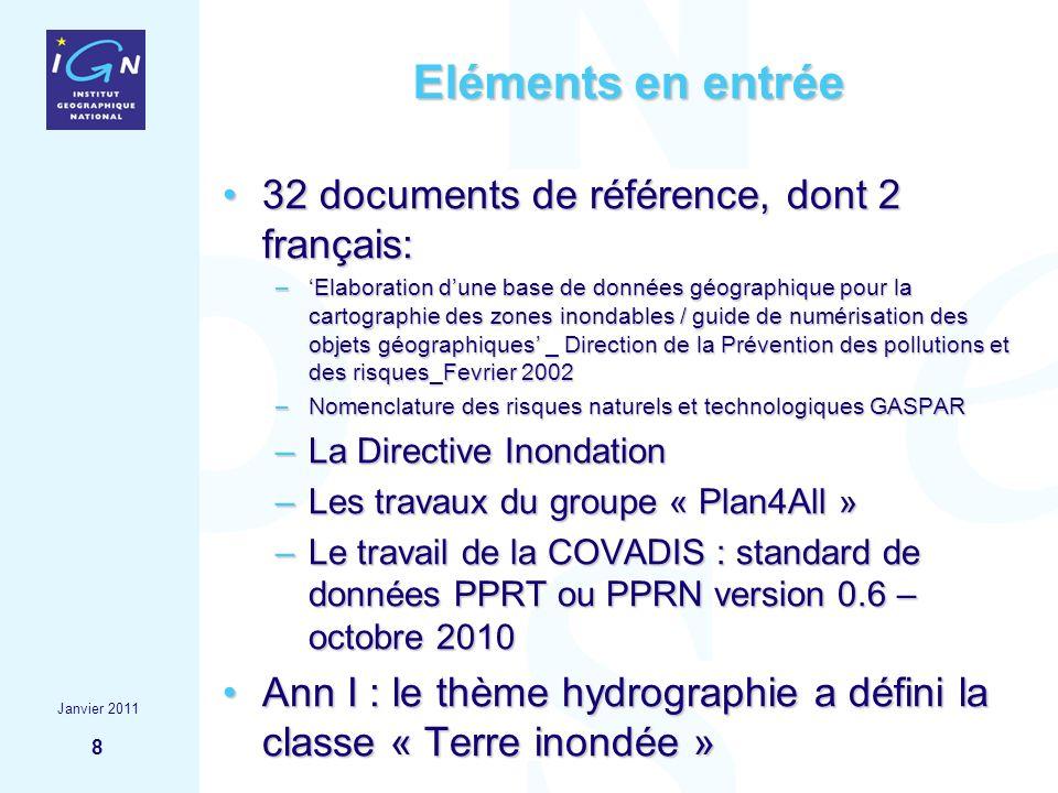8 Eléments en entrée 32 documents de référence, dont 2 français:32 documents de référence, dont 2 français: –Elaboration dune base de données géograph