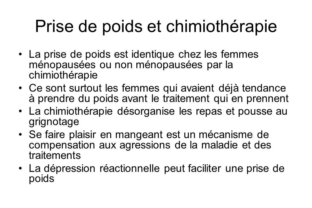 Prise de poids et chimiothérapie La prise de poids est identique chez les femmes ménopausées ou non ménopausées par la chimiothérapie Ce sont surtout