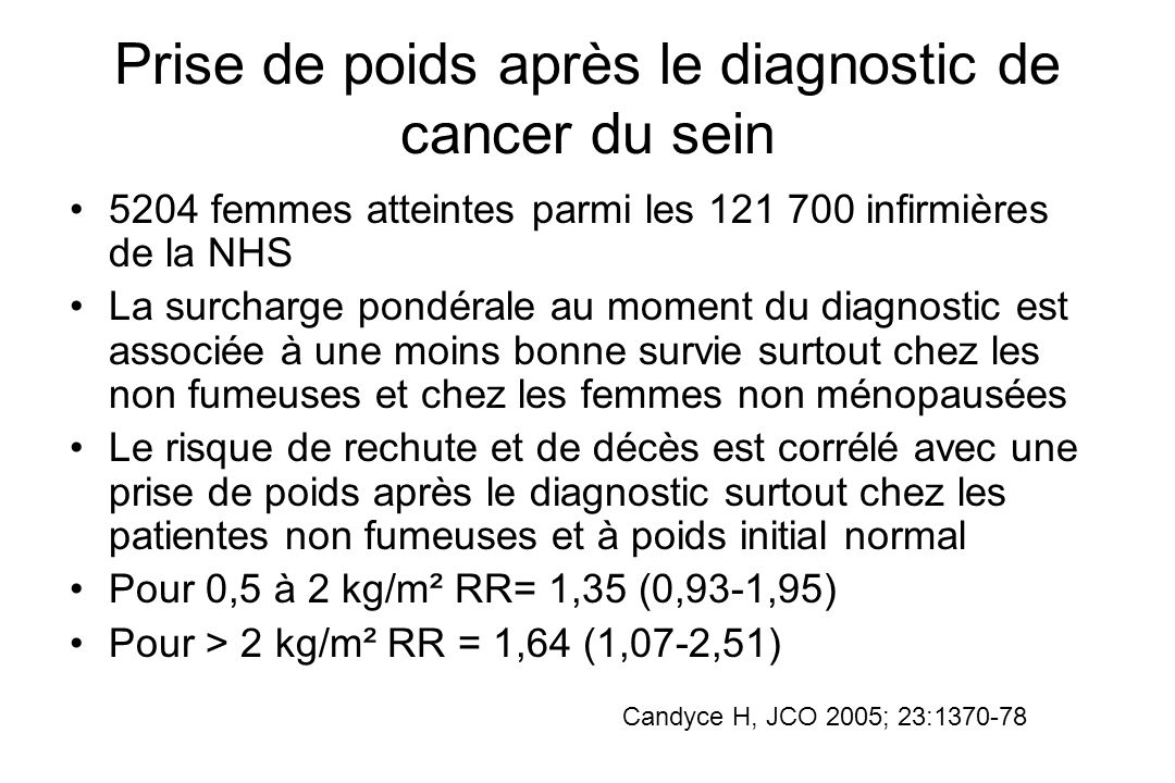 Prise de poids après le diagnostic de cancer du sein 5204 femmes atteintes parmi les 121 700 infirmières de la NHS La surcharge pondérale au moment du