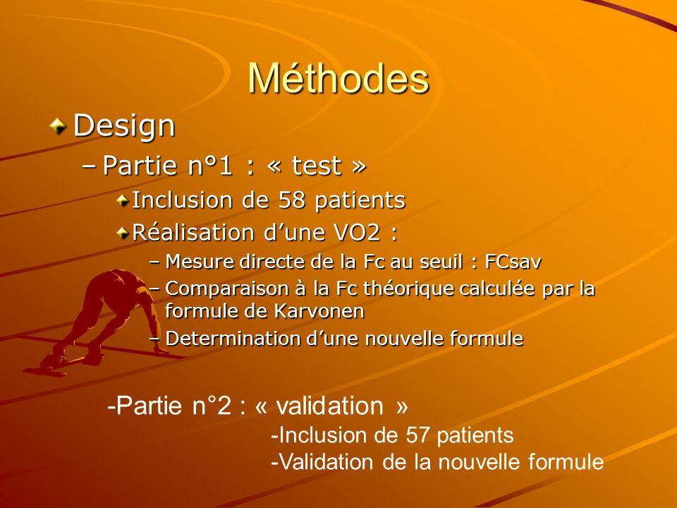 Méthodes Design –Partie n°1 : « test » Inclusion de 58 patients Réalisation dune VO2 : –Mesure directe de la Fc au seuil : FCsav –Comparaison à la Fc