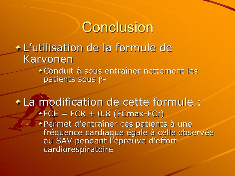 Conclusion Lutilisation de la formule de Karvonen Conduit à sous entraîner nettement les patients sous - La modification de cette formule : FCE = FCR
