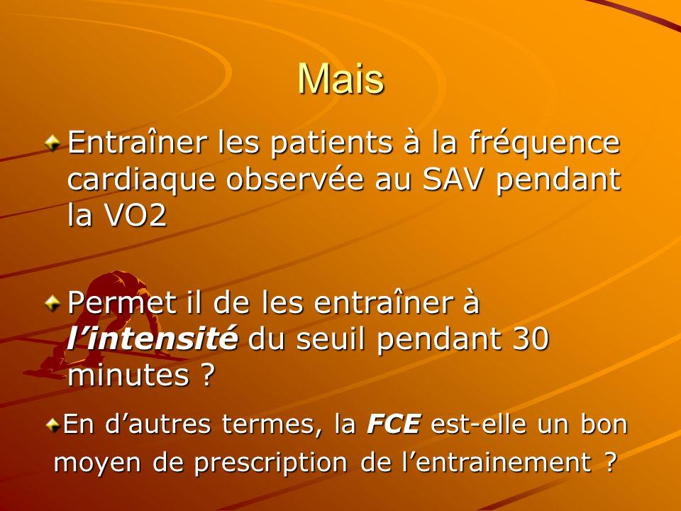 Mais Entraîner les patients à la fréquence cardiaque observée au SAV pendant la VO2 Permet il de les entraîner à lintensité du seuil pendant 30 minute