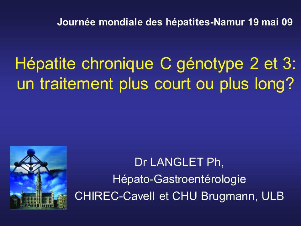 Les guidelines actuelles recommandent de traiter par 24 semaines les patients avec genotype 2 or 3 Les résultats de traitements plus longs (48 semaines) ne semblant pas améliorer globalement la réponse C Verslype et al.