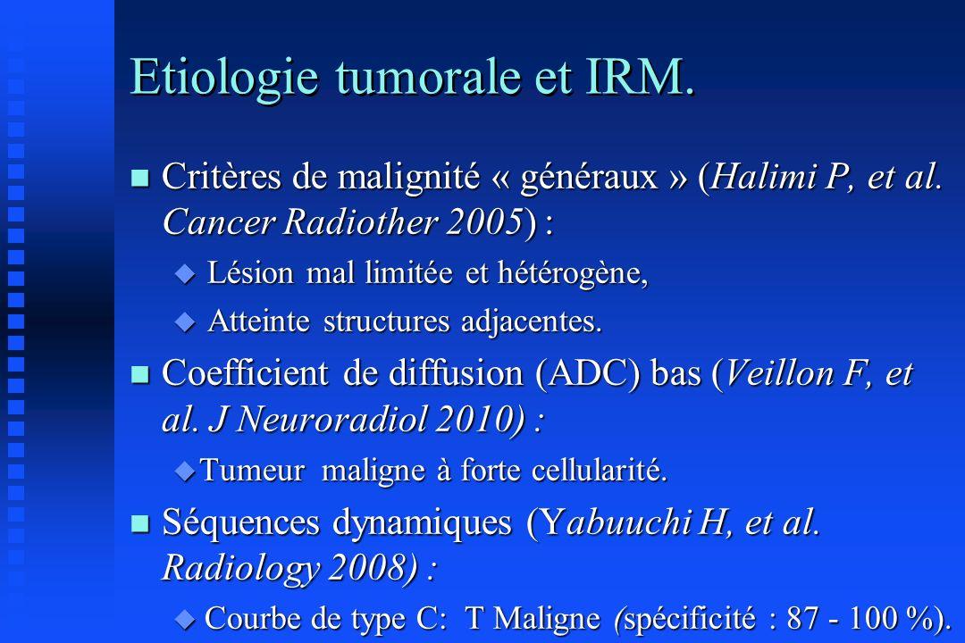 Etiologie tumorale et IRM. n Critères de malignité « généraux » (Halimi P, et al. Cancer Radiother 2005) : u Lésion mal limitée et hétérogène, u Attei
