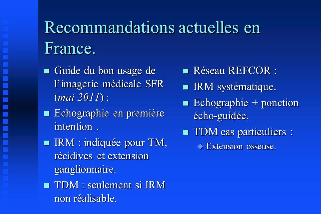 Recommandations actuelles en France. n Guide du bon usage de limagerie médicale SFR (mai 2011) : n Echographie en première intention. n IRM : indiquée