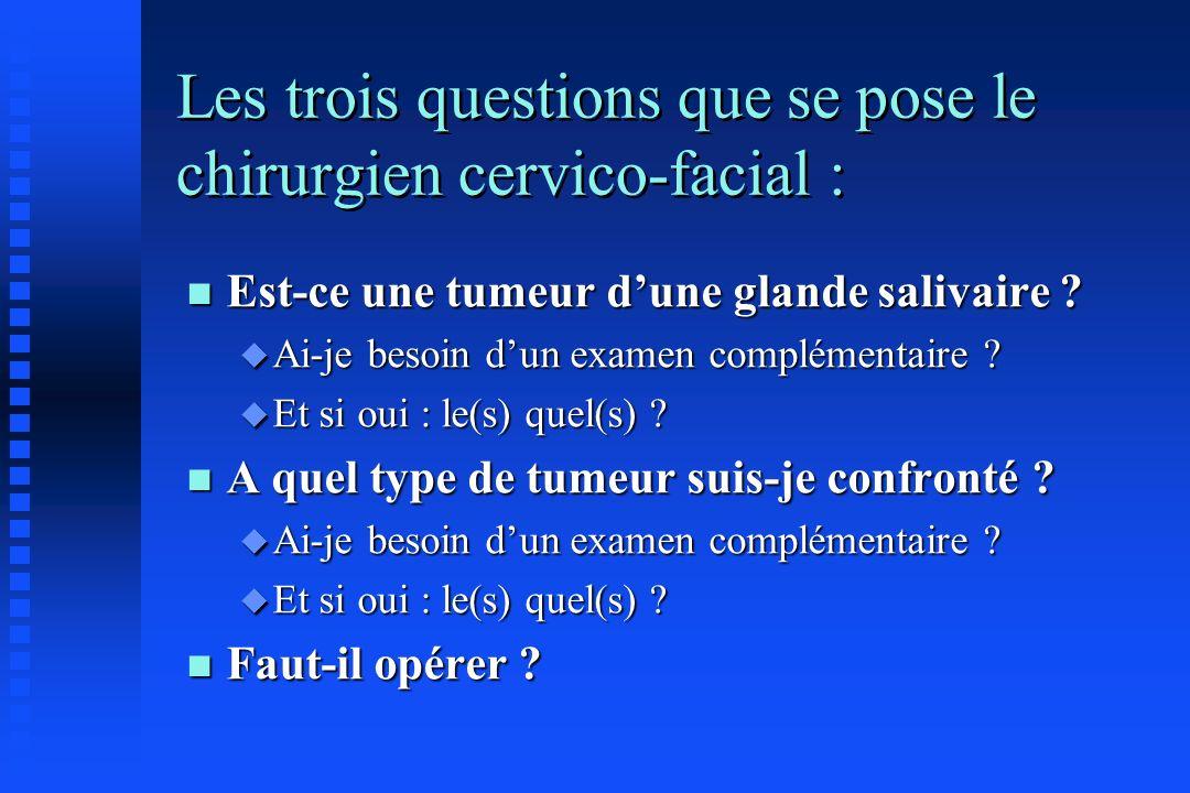 Les trois questions que se pose le chirurgien cervico-facial : n Est-ce une tumeur dune glande salivaire ? u Ai-je besoin dun examen complémentaire ?