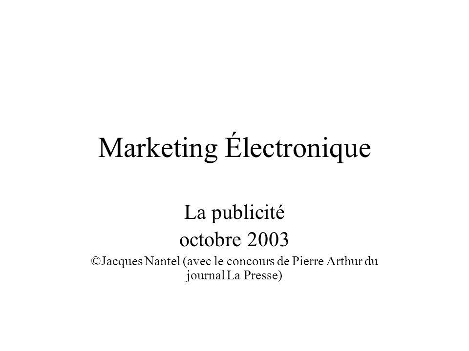 Marketing Électronique La publicité octobre 2003 ©Jacques Nantel (avec le concours de Pierre Arthur du journal La Presse)