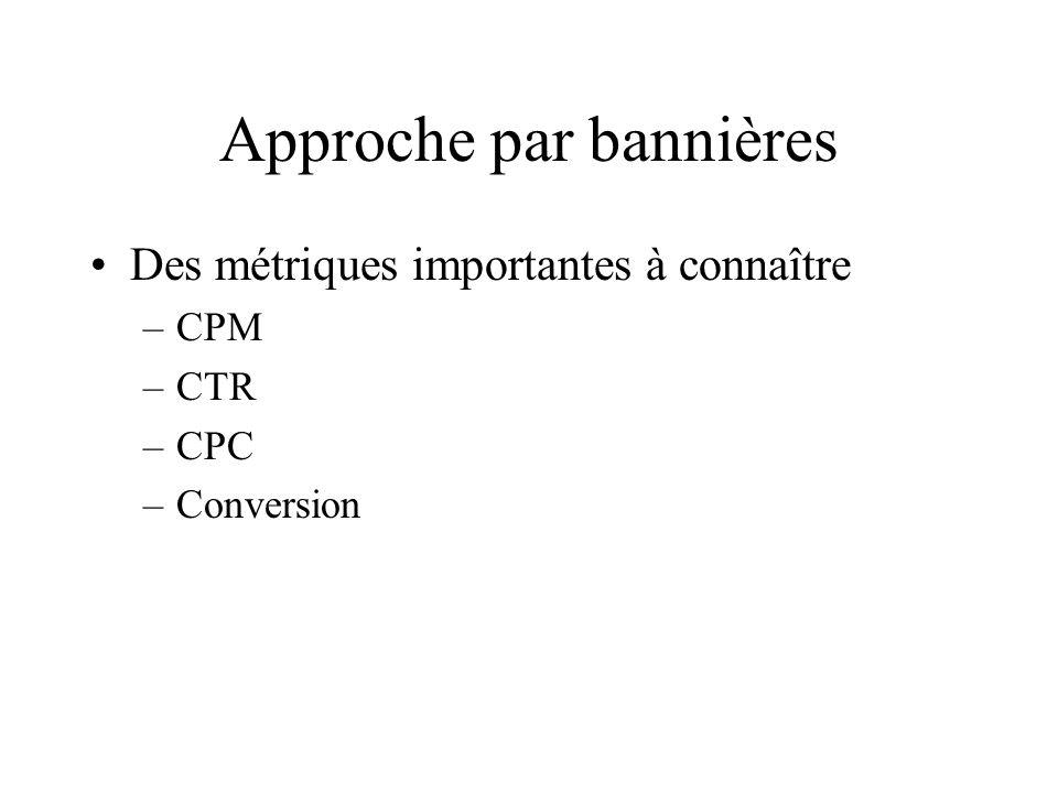 Approche par bannières Des métriques importantes à connaître –CPM –CTR –CPC –Conversion