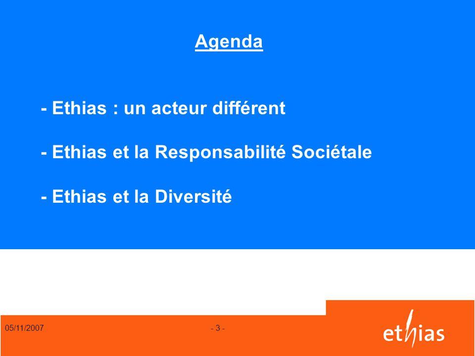 05/11/2007 - 3 - Agenda - Ethias : un acteur différent - Ethias et la Responsabilité Sociétale - Ethias et la Diversité