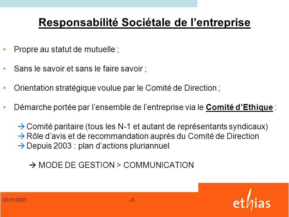 05/11/2007 - 8 - Responsabilité Sociétale de lentreprise Propre au statut de mutuelle ; Sans le savoir et sans le faire savoir ; Orientation stratégiq