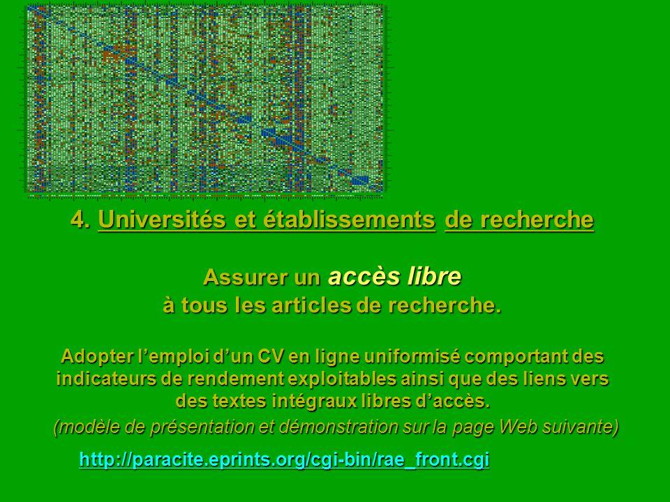 4. Universités et établissements de recherche Assurer un accès libre à tous les articles de recherche. Adopter lemploi dun CV en ligne uniformisé comp