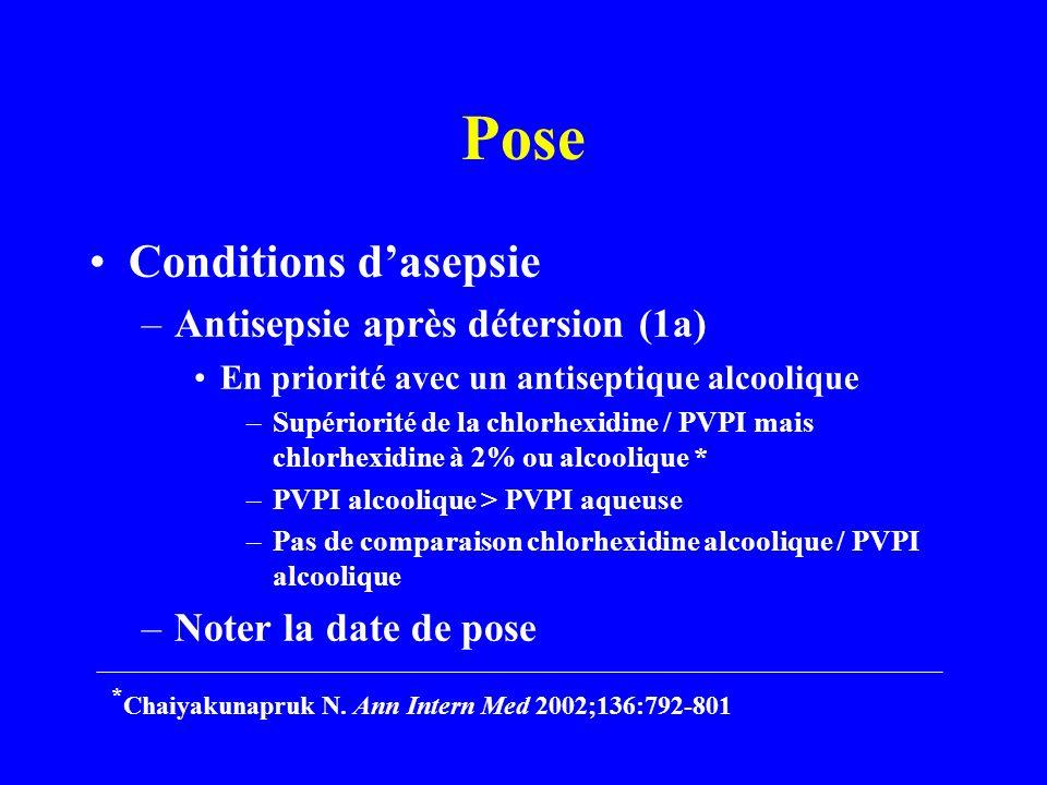 Pose Conditions dasepsie –Antisepsie après détersion (1a) En priorité avec un antiseptique alcoolique –Supériorité de la chlorhexidine / PVPI mais chlorhexidine à 2% ou alcoolique * –PVPI alcoolique > PVPI aqueuse –Pas de comparaison chlorhexidine alcoolique / PVPI alcoolique –Noter la date de pose * Chaiyakunapruk N.