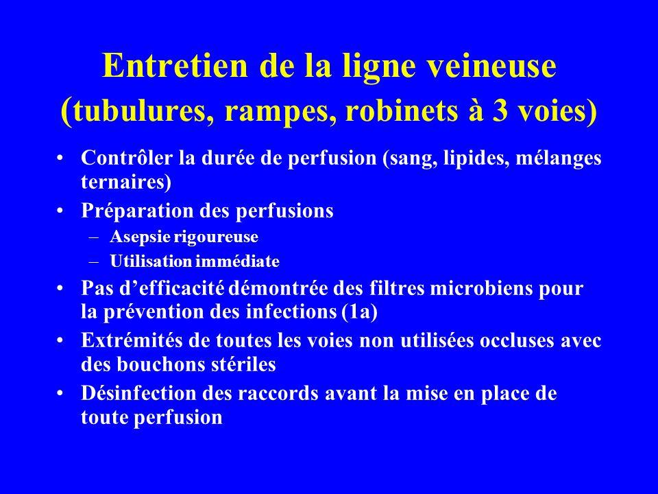 Entretien de la ligne veineuse ( tubulures, rampes, robinets à 3 voies) Contrôler la durée de perfusion (sang, lipides, mélanges ternaires) Préparation des perfusions –Asepsie rigoureuse –Utilisation immédiate Pas defficacité démontrée des filtres microbiens pour la prévention des infections (1a) Extrémités de toutes les voies non utilisées occluses avec des bouchons stériles Désinfection des raccords avant la mise en place de toute perfusion