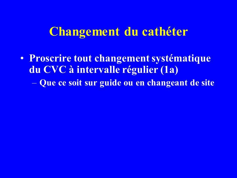Changement du cathéter Proscrire tout changement systématique du CVC à intervalle régulier (1a) –Que ce soit sur guide ou en changeant de site