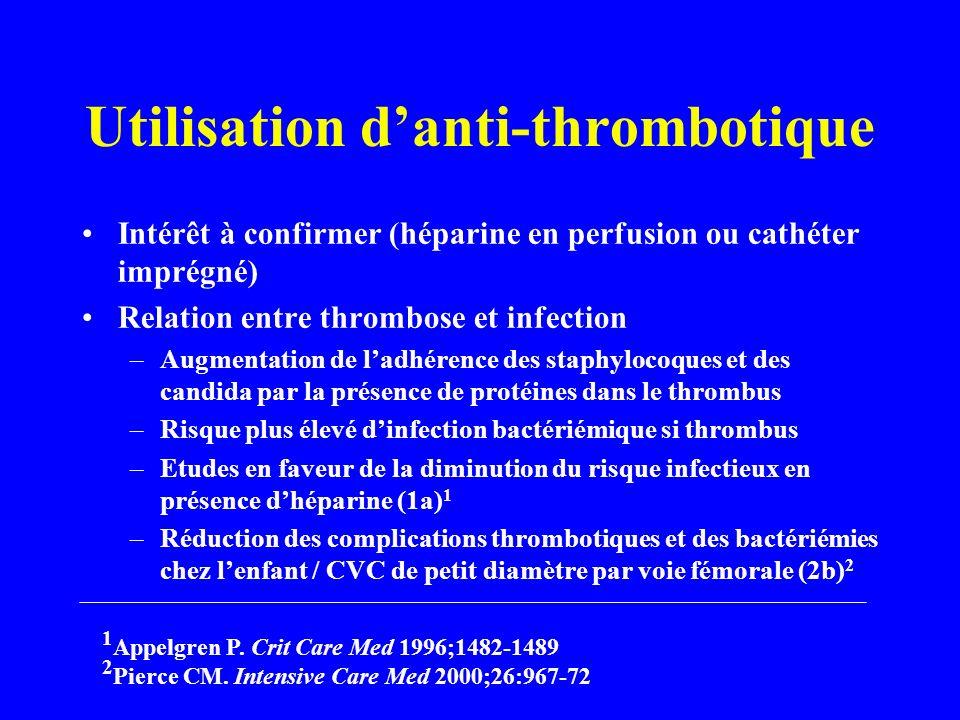 Utilisation danti-thrombotique Intérêt à confirmer (héparine en perfusion ou cathéter imprégné) Relation entre thrombose et infection –Augmentation de ladhérence des staphylocoques et des candida par la présence de protéines dans le thrombus –Risque plus élevé dinfection bactériémique si thrombus –Etudes en faveur de la diminution du risque infectieux en présence dhéparine (1a) 1 –Réduction des complications thrombotiques et des bactériémies chez lenfant / CVC de petit diamètre par voie fémorale (2b) 2 1 Appelgren P.