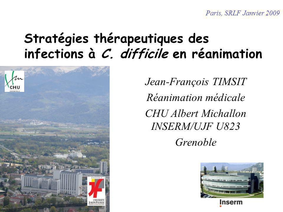Tolevamer (étude phase III) Phase III : 1100 pts, 300 sites, double aveugle Tolevamer (9g forme liquide) vs Metronidazole (1.5g) et Vancomycine (500mg) (2:1:1) Critère ppal : résolution des diarrhées à CD à J10 528 pat (268T, 125 V, 135 M) Formes sévères: 25%, récurrentes 17% Succès clinique: T 42% (112/268), V 81% (101/125), M 73% (99/135) Récurrence: T 6%, V 18%, M 19% Infériorité vs les 2 antibiotiques de référence Bouza E et al – 18th ECCMID Avr 2008