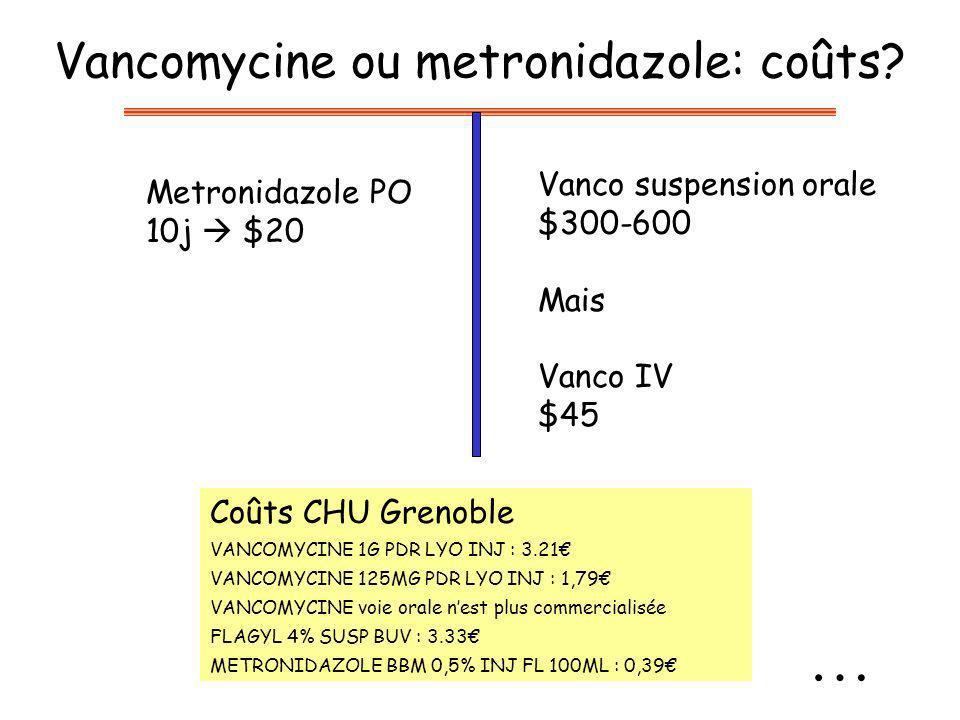 Vancomycine ou metronidazole: coûts.
