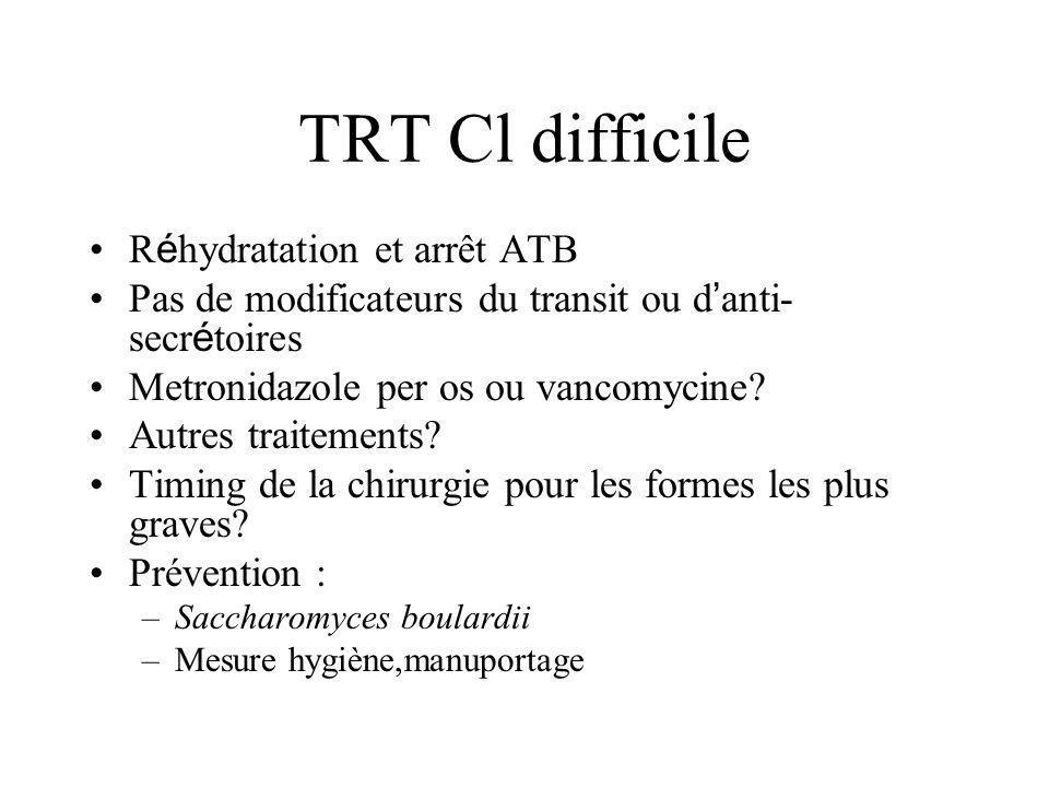 TRT Cl difficile R é hydratation et arrêt ATB Pas de modificateurs du transit ou d anti- secr é toires Metronidazole per os ou vancomycine.