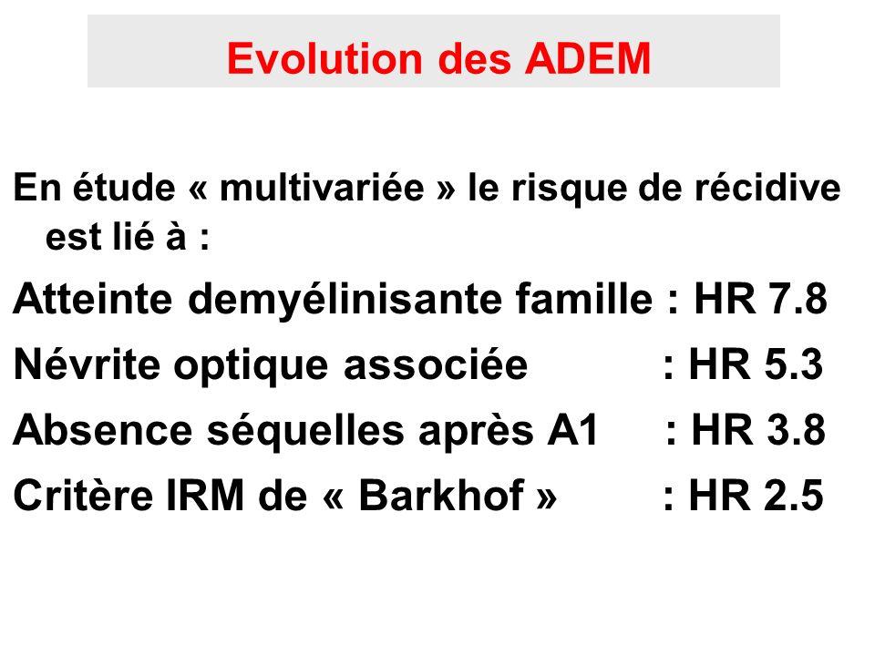 Evolution des ADEM En étude « multivariée » le risque de récidive est lié à : Atteinte demyélinisante famille : HR 7.8 Névrite optique associée : HR 5