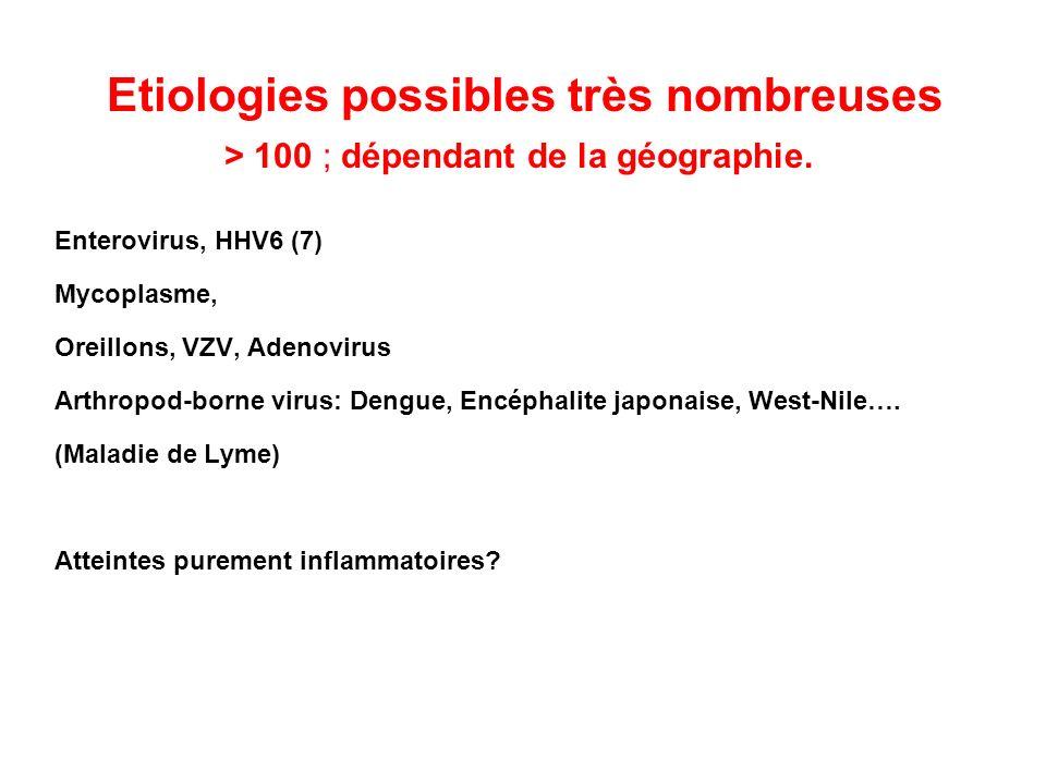 Etiologies possibles très nombreuses > 100 ; dépendant de la géographie. Enterovirus, HHV6 (7) Mycoplasme, Oreillons, VZV, Adenovirus Arthropod-borne