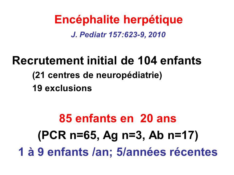 Encéphalite herpétique J. Pediatr 157:623-9, 2010 Recrutement initial de 104 enfants (21 centres de neuropédiatrie) 19 exclusions 85 enfants en 20 ans