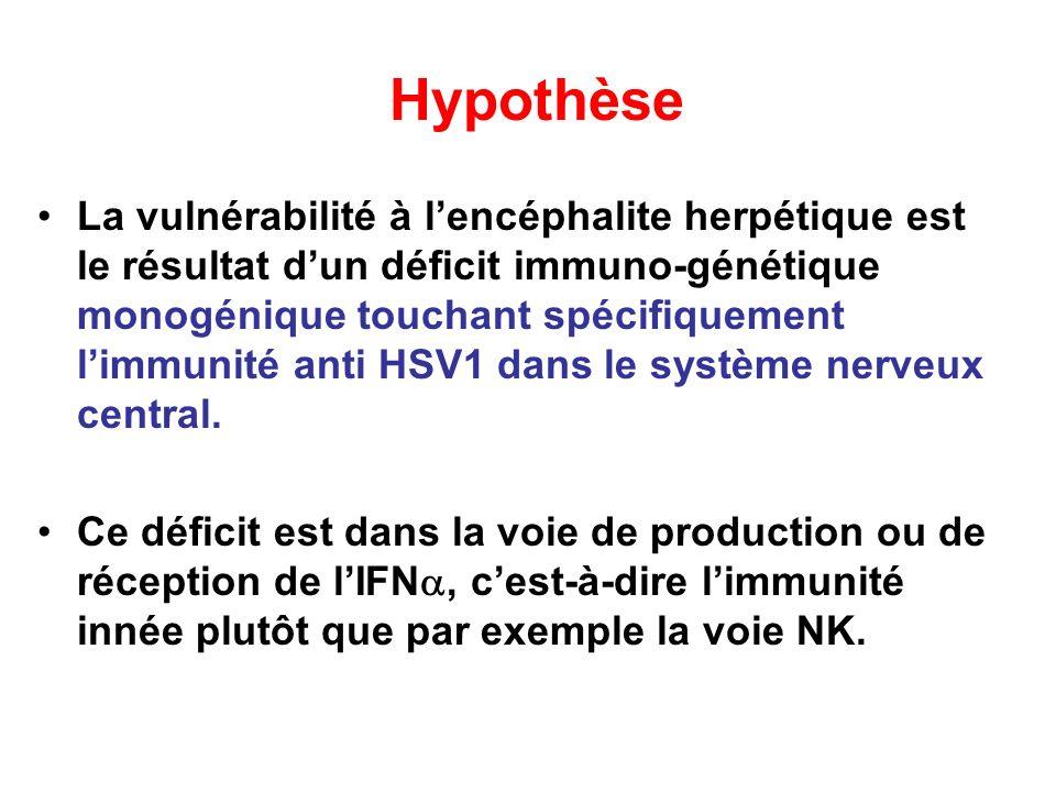 Hypothèse La vulnérabilité à lencéphalite herpétique est le résultat dun déficit immuno-génétique monogénique touchant spécifiquement limmunité anti H