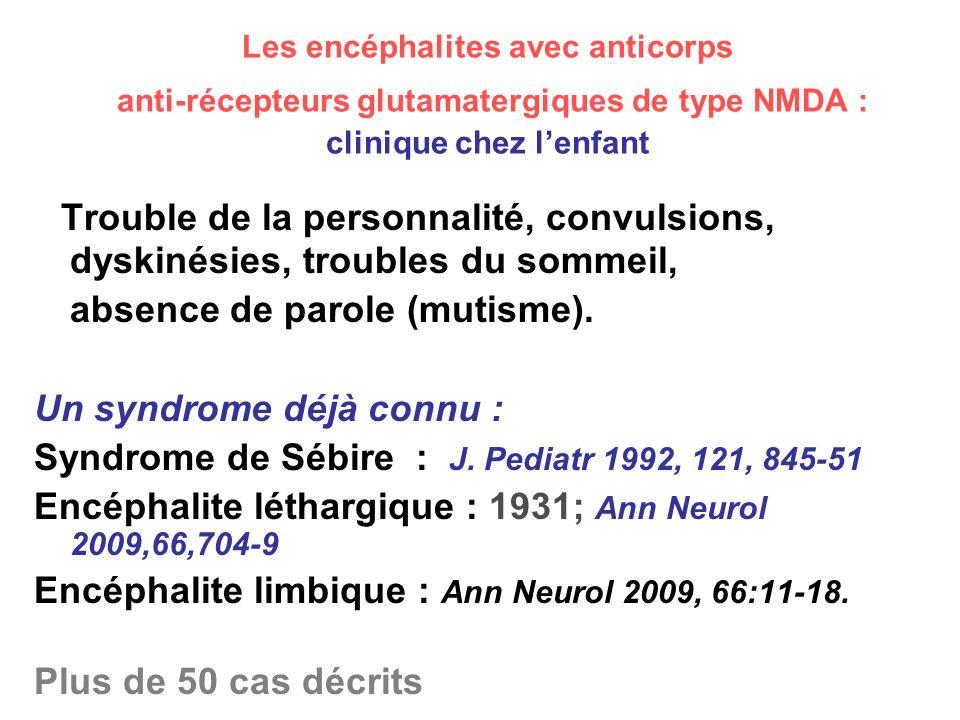 Les encéphalites avec anticorps anti-récepteurs glutamatergiques de type NMDA : clinique chez lenfant Trouble de la personnalité, convulsions, dyskiné