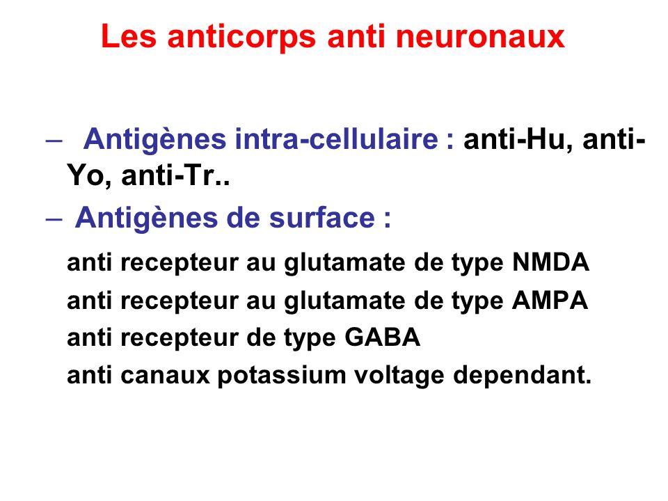 – Antigènes intra-cellulaire : anti-Hu, anti- Yo, anti-Tr.. – Antigènes de surface : anti recepteur au glutamate de type NMDA anti recepteur au glutam