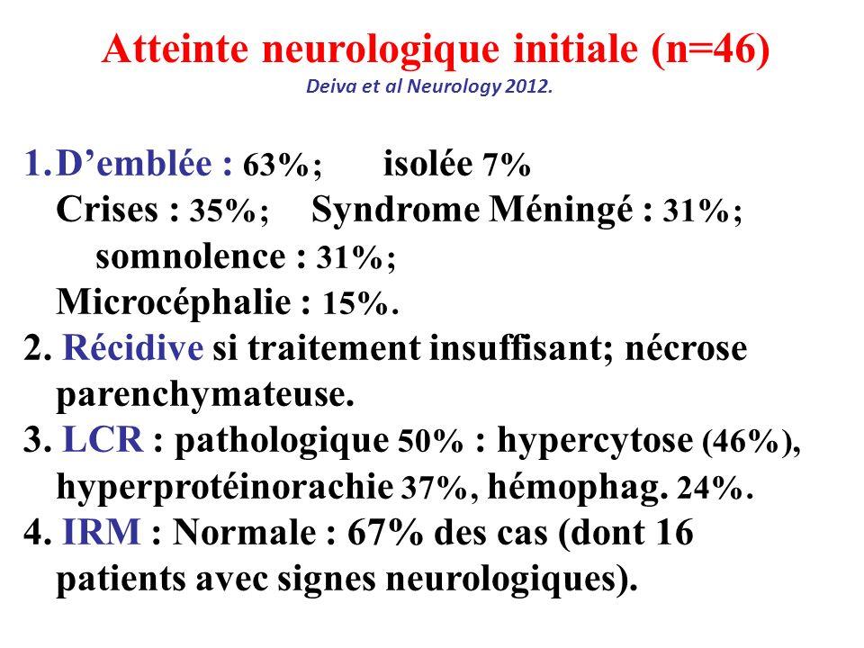 Atteinte neurologique initiale (n=46) Deiva et al Neurology 2012. 1.Demblée : 63%; isolée 7% Crises : 35%; Syndrome Méningé : 31%; somnolence : 31%; M