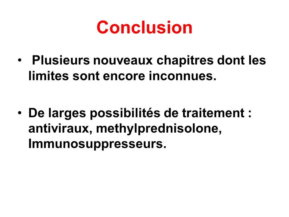 Conclusion Plusieurs nouveaux chapitres dont les limites sont encore inconnues. De larges possibilités de traitement : antiviraux, methylprednisolone,