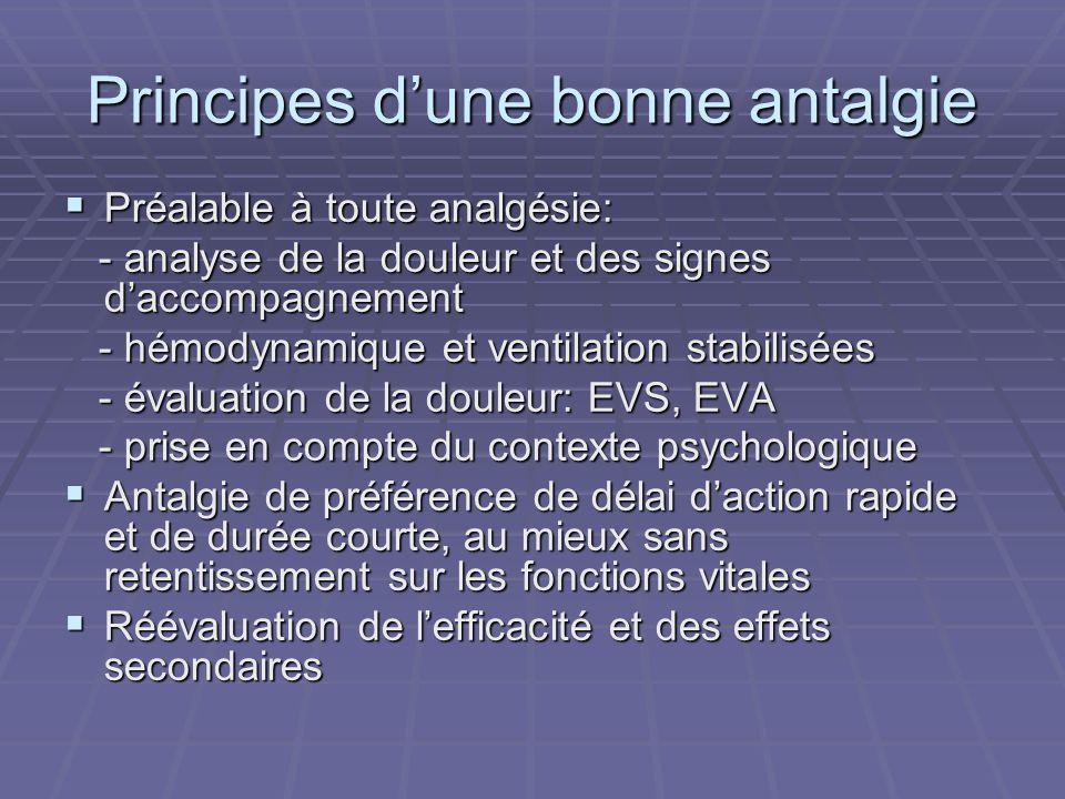 Principes dune bonne antalgie Préalable à toute analgésie: Préalable à toute analgésie: - analyse de la douleur et des signes daccompagnement - analys