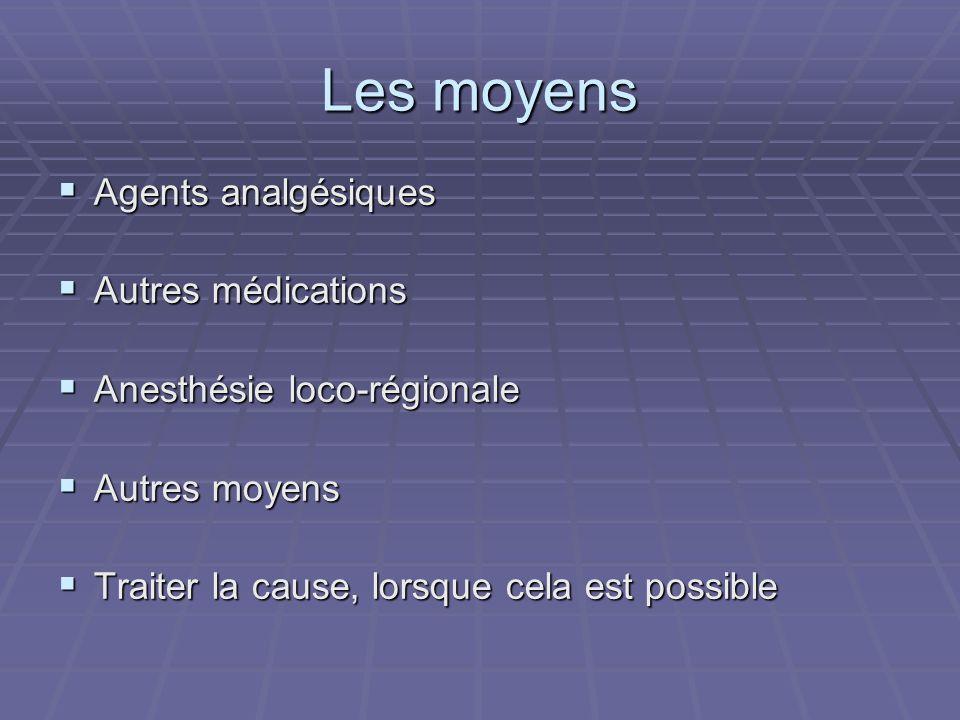 Les moyens Agents analgésiques Agents analgésiques Autres médications Autres médications Anesthésie loco-régionale Anesthésie loco-régionale Autres mo