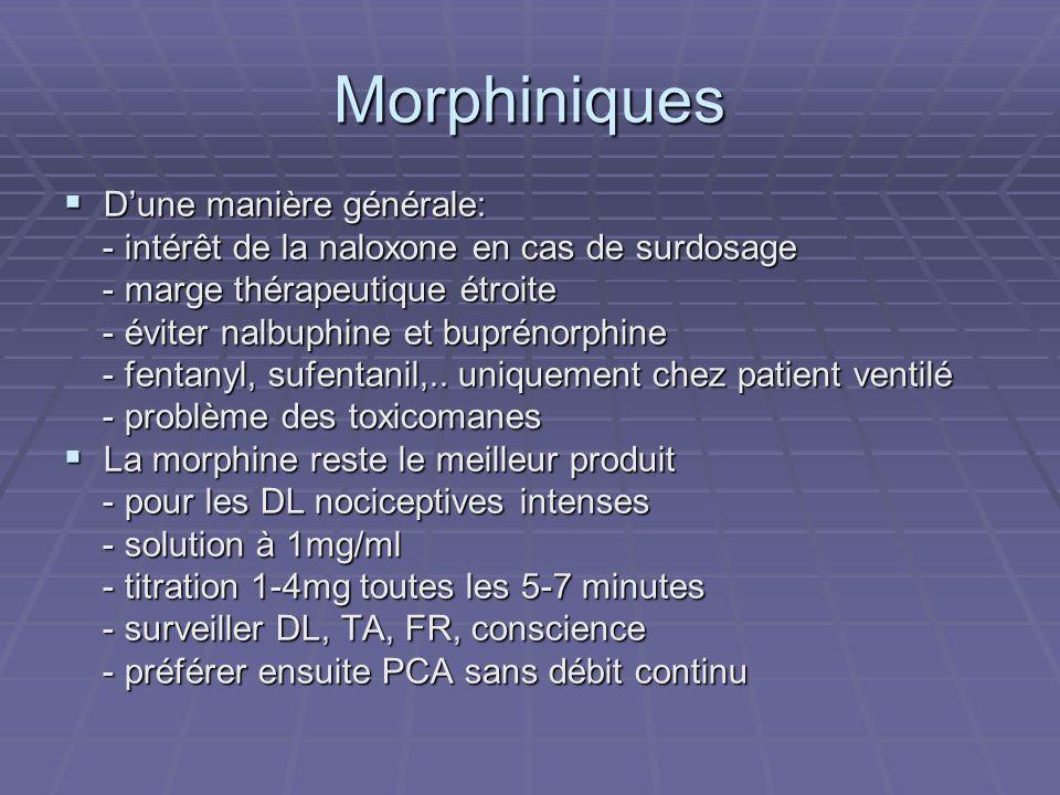 Morphiniques Dune manière générale: Dune manière générale: - intérêt de la naloxone en cas de surdosage - intérêt de la naloxone en cas de surdosage -