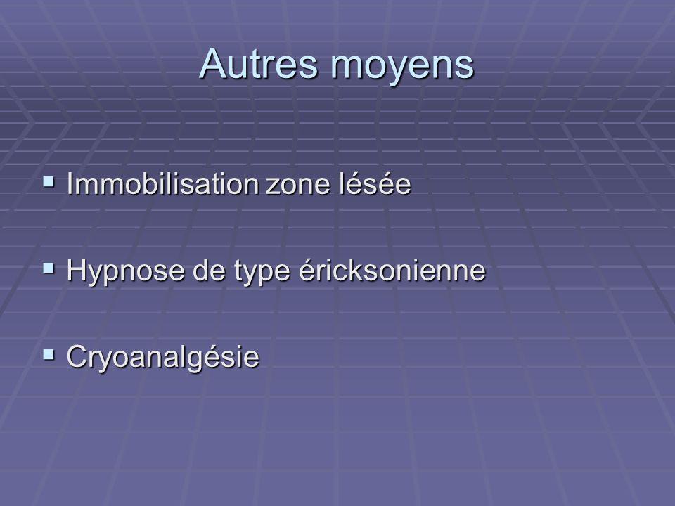 Autres moyens Immobilisation zone lésée Immobilisation zone lésée Hypnose de type éricksonienne Hypnose de type éricksonienne Cryoanalgésie Cryoanalgésie