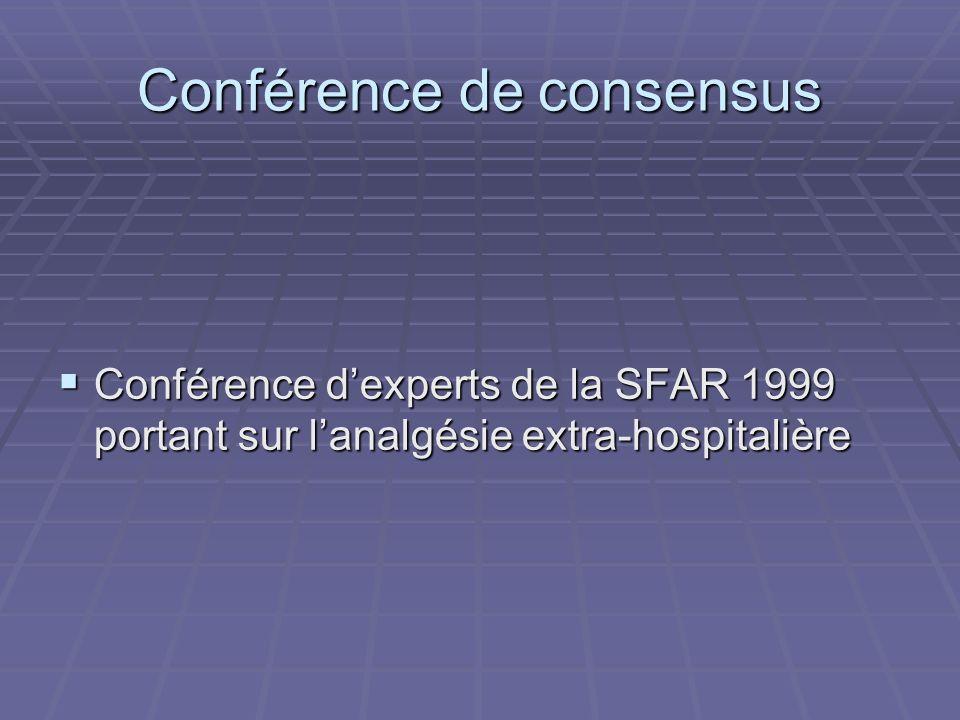 Conférence de consensus Conférence dexperts de la SFAR 1999 portant sur lanalgésie extra-hospitalière Conférence dexperts de la SFAR 1999 portant sur lanalgésie extra-hospitalière