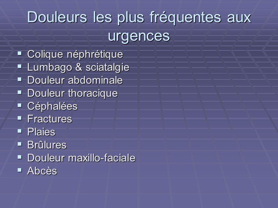 Douleurs les plus fréquentes aux urgences Colique néphrétique Colique néphrétique Lumbago & sciatalgie Lumbago & sciatalgie Douleur abdominale Douleur abdominale Douleur thoracique Douleur thoracique Céphalées Céphalées Fractures Fractures Plaies Plaies Brûlures Brûlures Douleur maxillo-faciale Douleur maxillo-faciale Abcès Abcès
