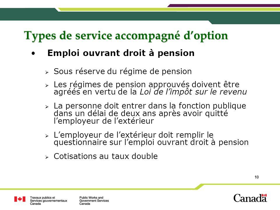 10 Types de service accompagné doption Emploi ouvrant droit à pension Sous réserve du régime de pension Les régimes de pension approuvés doivent être