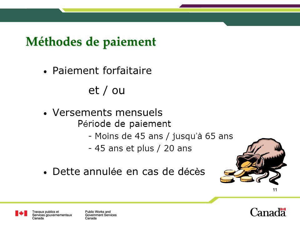 11 Méthodes de paiement Paiement forfaitaire et / ou Versements mensuels P é riode de paiement - Moins de 45 ans / jusqu à 65 ans - 45 ans et plus / 2