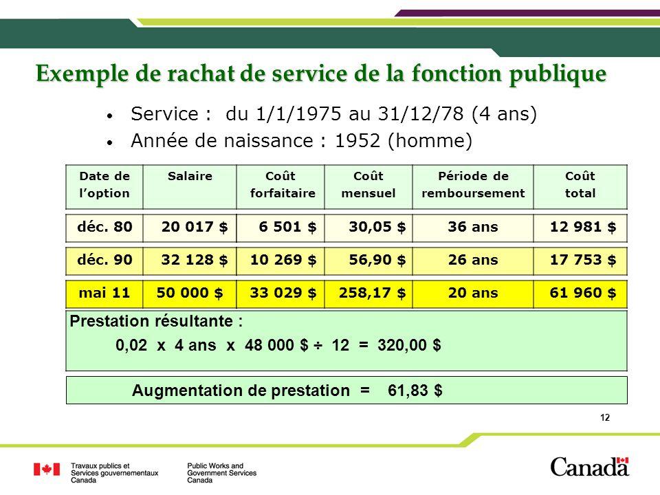 12 Exemple de rachat de service de la fonction publique Service : du 1/1/1975 au 31/12/78 (4 ans) Année de naissance : 1952 (homme) Date de loption Sa