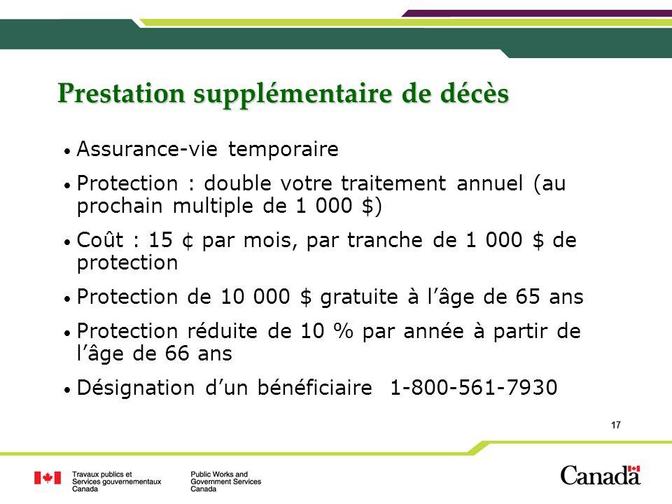 17 Prestation supplémentaire de décès Assurance-vie temporaire Protection : double votre traitement annuel (au prochain multiple de 1 000 $) Coût : 15
