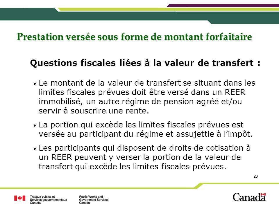 23 Questions fiscales liées à la valeur de transfert : Le montant de la valeur de transfert se situant dans les limites fiscales prévues doit être ver