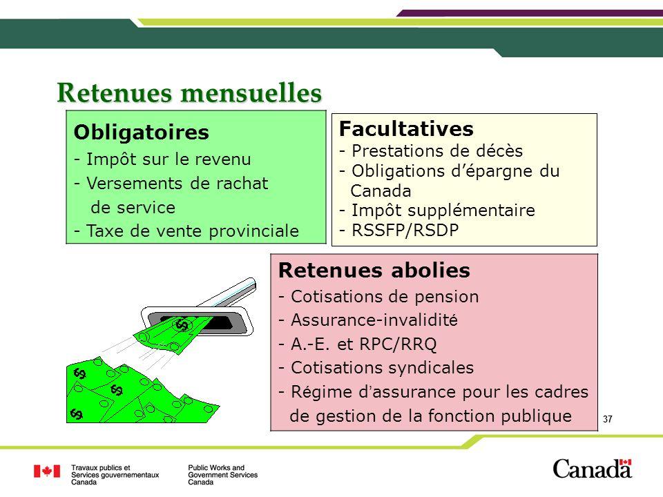 37 Retenues mensuelles Facultatives - Prestations de décès - Obligations dépargne du Canada - Impôt supplémentaire - RSSFP/RSDP Obligatoires - Impôt s
