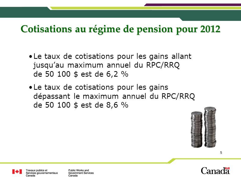5 Cotisations au régime de pension pour 2012 Le taux de cotisations pour les gains allant jusquau maximum annuel du RPC/RRQ de 50 100 $ est de 6,2 % L